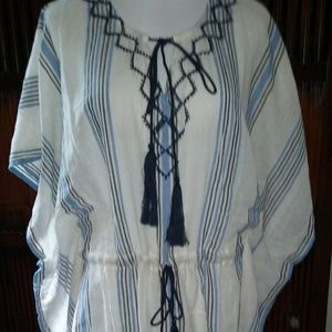 Striped Cotton Gauze Vince Camuto top, OS, NWT